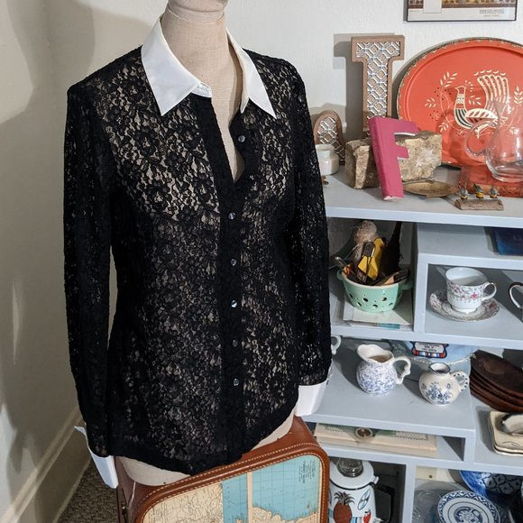 Black Lace Ann Taylor Blouse